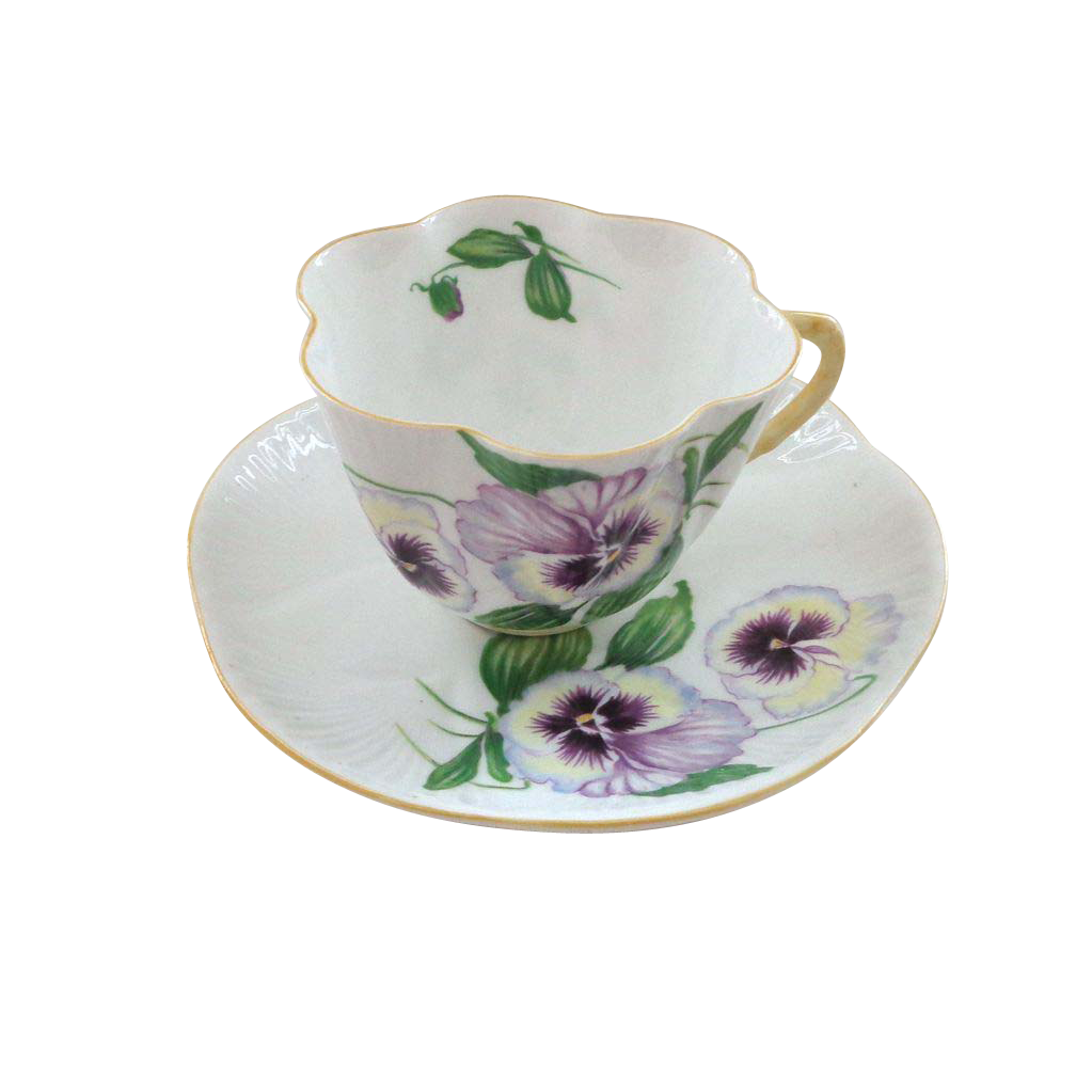 Shelley Pansy Pattern Cup and Saucer - Dainty Shape
