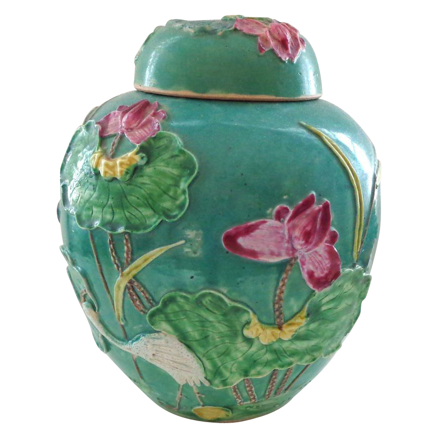 Antique Sancai Chinese Pottery Ginger Jar with Applied Lotus, Crane, etc.