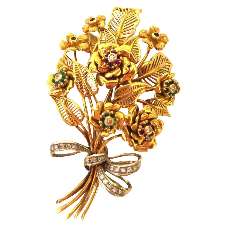 Spectacular Large Retro 18K & Multi Gemstone Bouquet Brooch or Pin