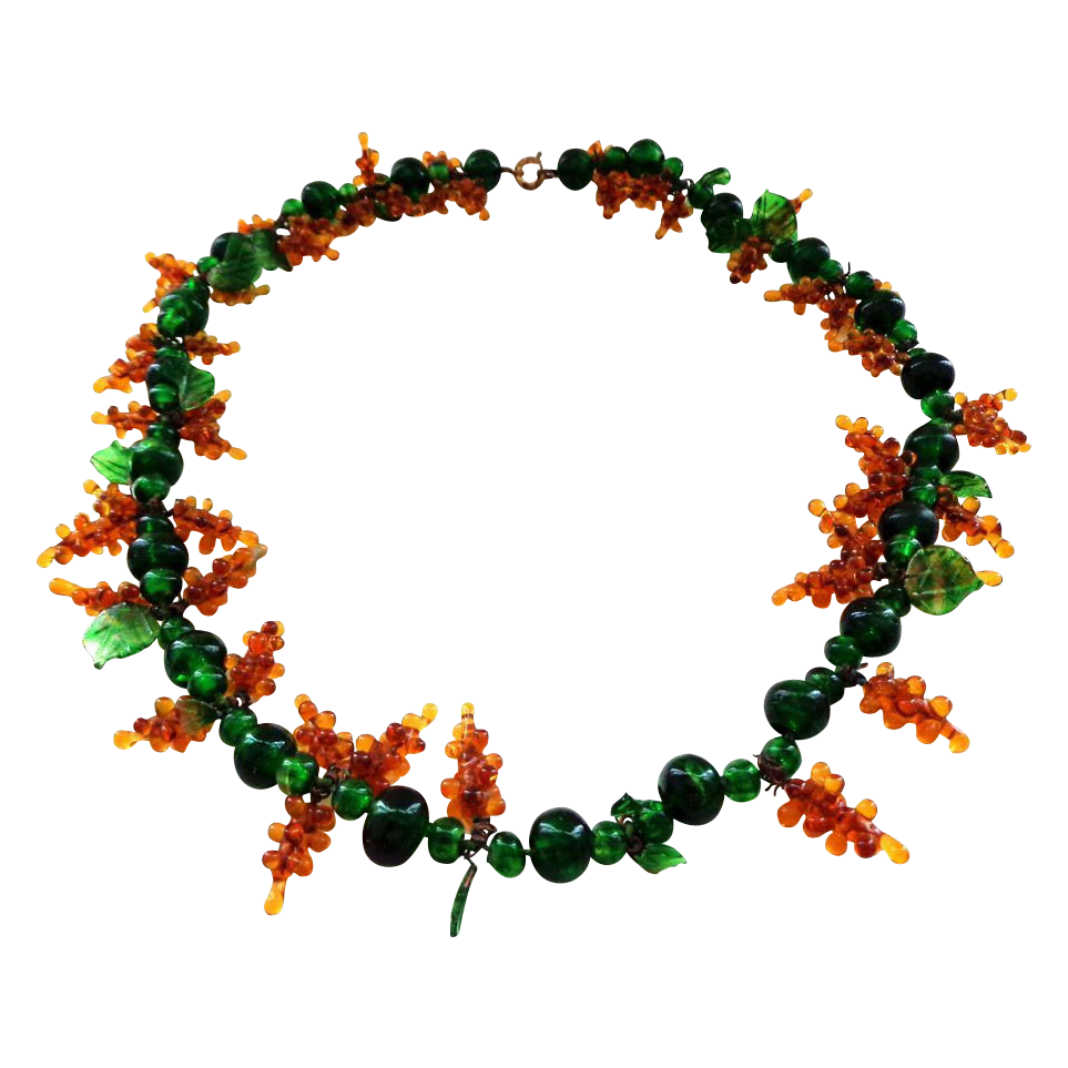Vintage Czech Glass Grape Vine Necklace