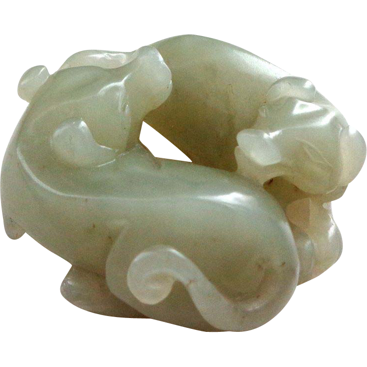 Remarkable Carved Jade Chilongs or Baby Dragons
