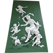 Antique 19th C Jasperware Plaque with Cupid, Lovebirds, Cherubs and a Beautiful Woman