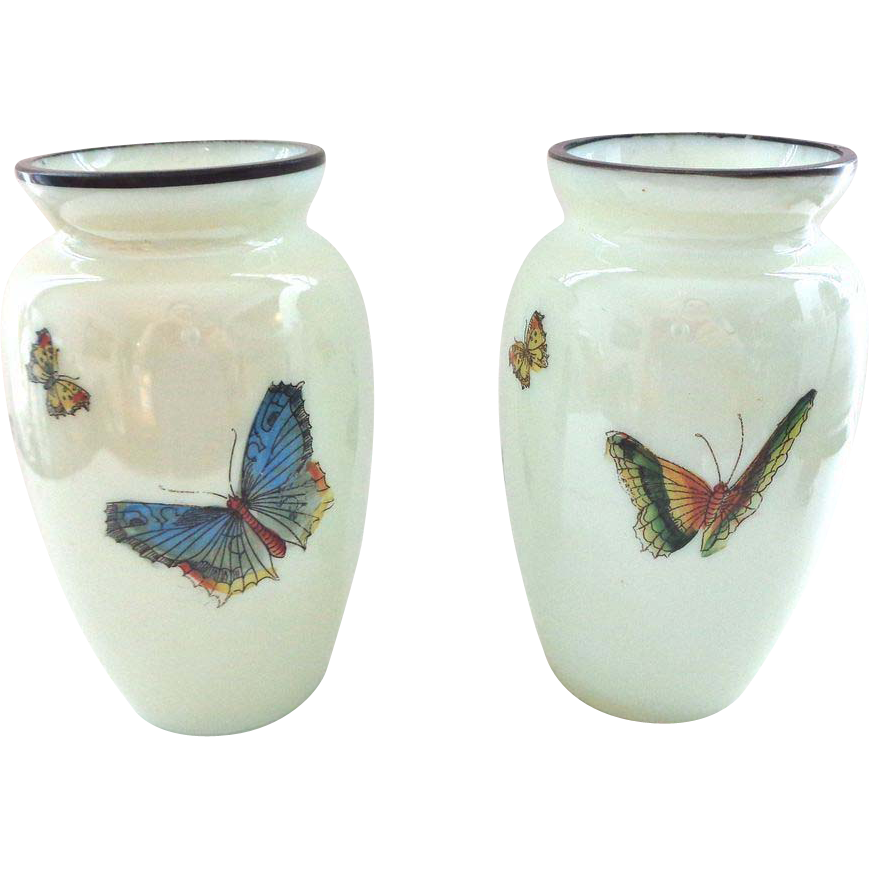 Pair of Butterfly Decorated Vases