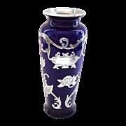 Antique Cobalt Blue and Silver Overlay Glass Vase