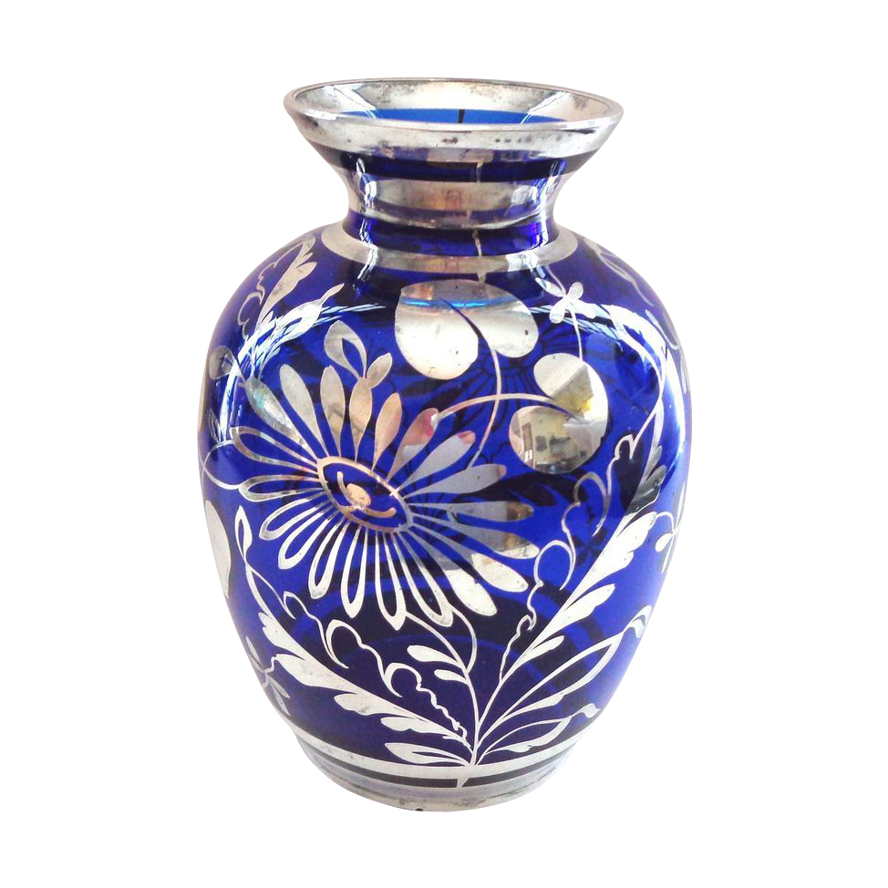 Cobalt Blue And Silver Deposit Vase That Was Then Antiques Jewelry And Collectibles Ruby Lane