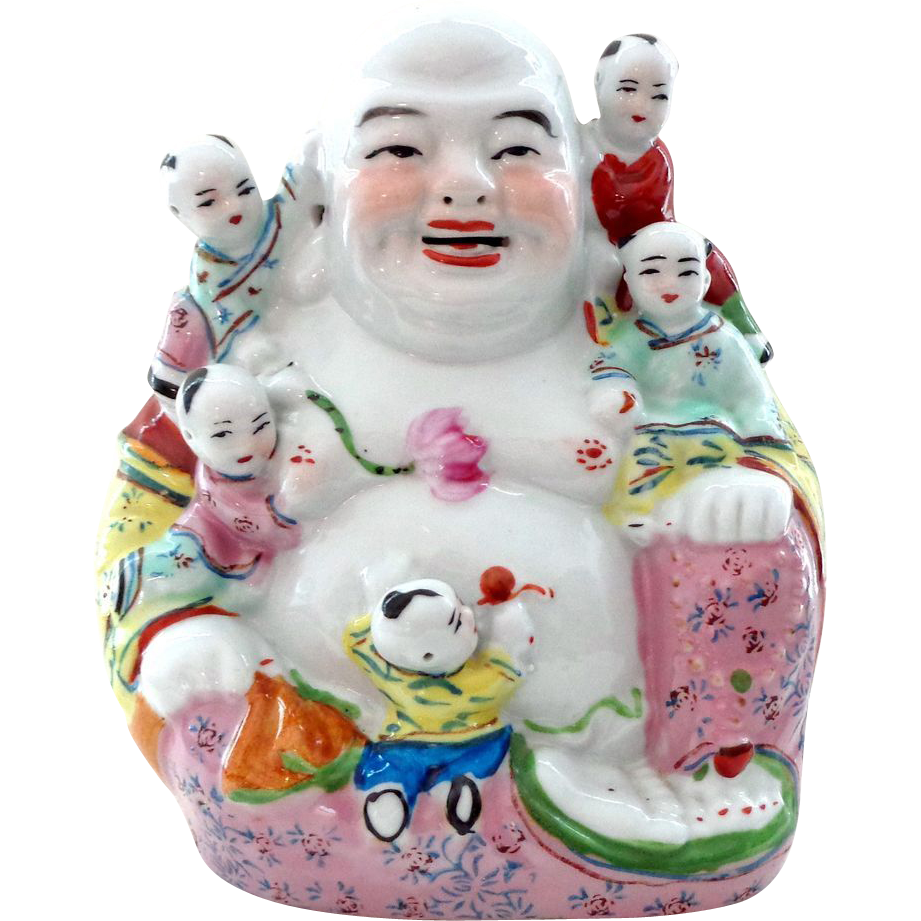 Vintage Chinese Laughing Buddha with Children - Happy Symbolism