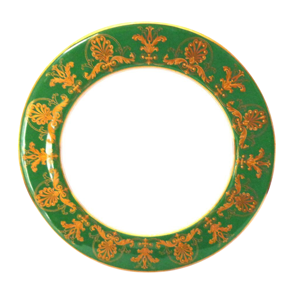 1912 Antique Royal Worcester Plate with Raised Gold Jewels and Swags