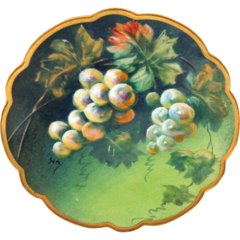 Limoges Handpainted Signed Grapes Plate on Dark Green Ground