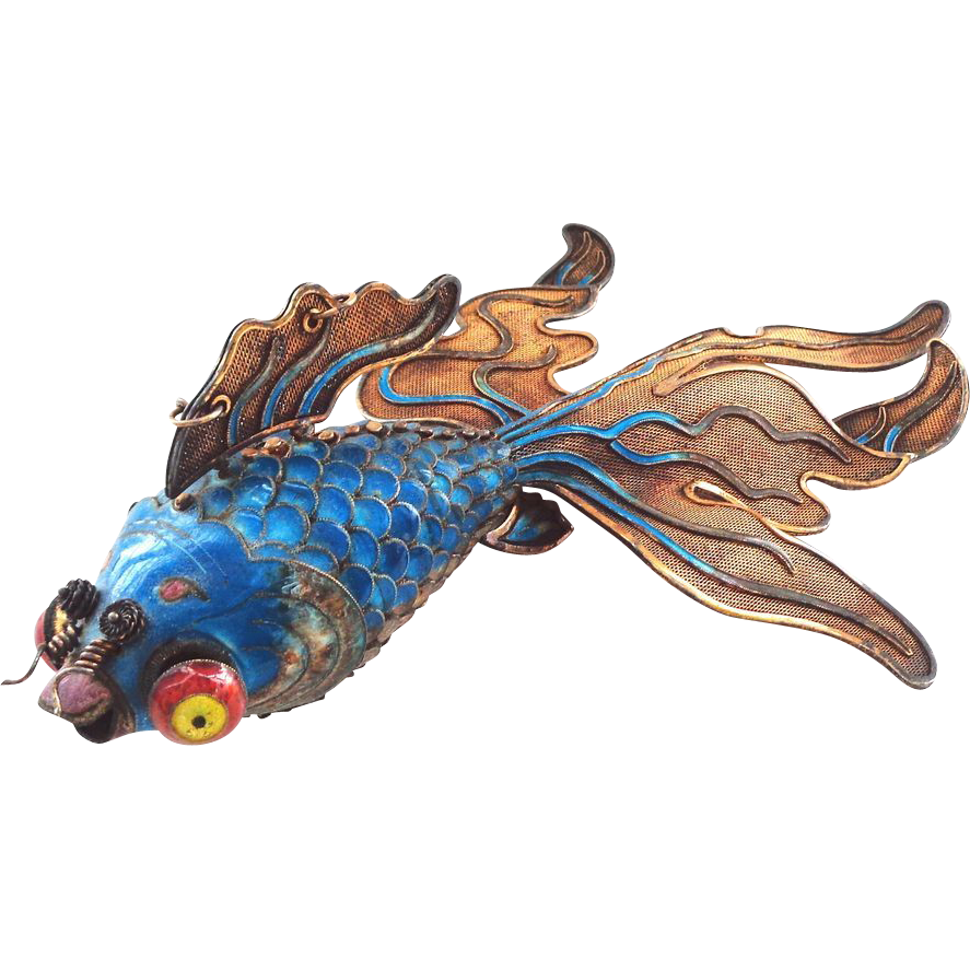 One of Our BEST EVER Chinese Silver Enamel Giant Articulated Fancy Googly Eye Goldfish or Koi in Ocean Blue