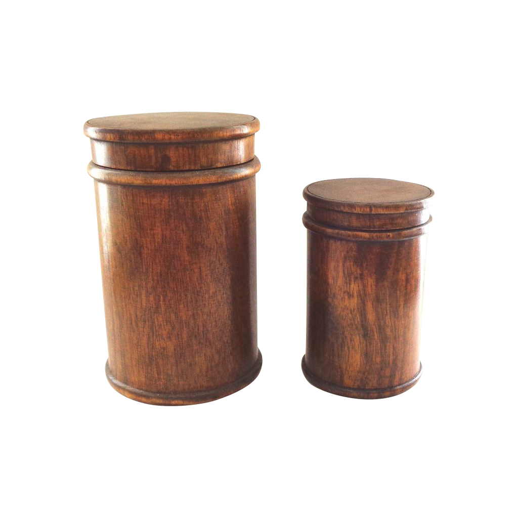 Two Treen Wooden Cylinder Boxes - Nesting - Large