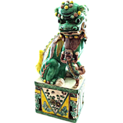 Very Fine Hand Painted Female Chinese Foo Dog with Baby aka Fu Dog