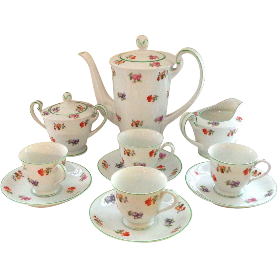 R&C Strewn Flowers Demitasse Set - Complete with 13 Piece Set