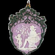 Tricolor German Jasperware Plaque with Cupid and Troubadour