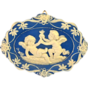 German Jasperware Jasper Ware Blue and White Plaque with 2 Angels and Heart