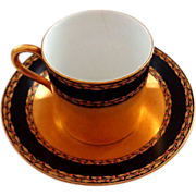 Antique 1897 Royal Worcester Gilded Cup and Saucer with Jewels