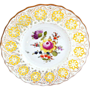 Reticulated Pierced Meissen Plate with Yellow Border