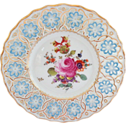 Reticulated Pierced Meissen Plate with Hand Painted Floral Design