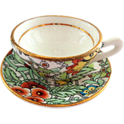 Rosina Miniature Chintz Cup and Saucer - Greens and Oranges