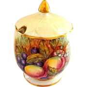 Aynsley Orchard Fruit Gold Jam Jar Signed D. Jones