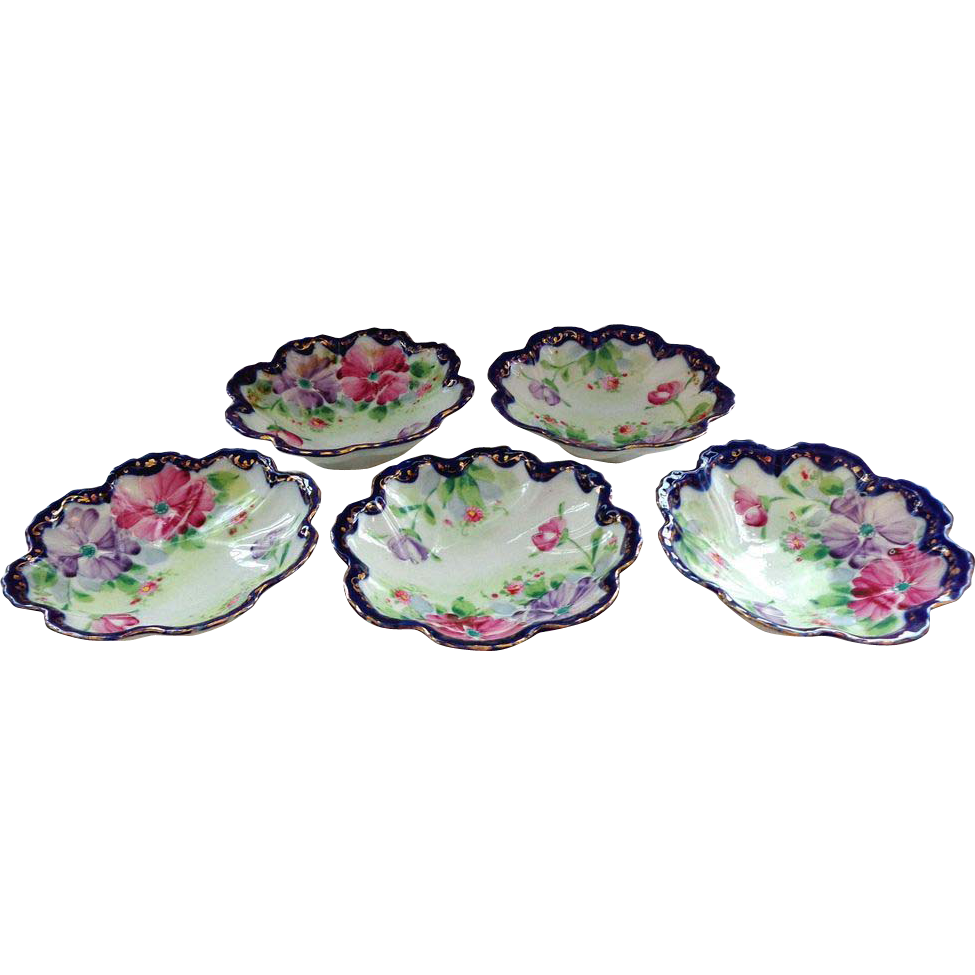 5 Fruit or Dessert Bowls Hand Painted Unsigned