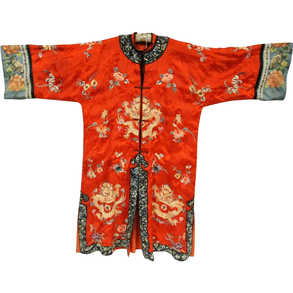 Our BEST EVER Antique Chinese Embroidered Silk Court Robe with Imperial Dragons