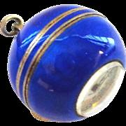 Cobalt Blue Enamel on Sterling Swiss Ball Pendant Watch