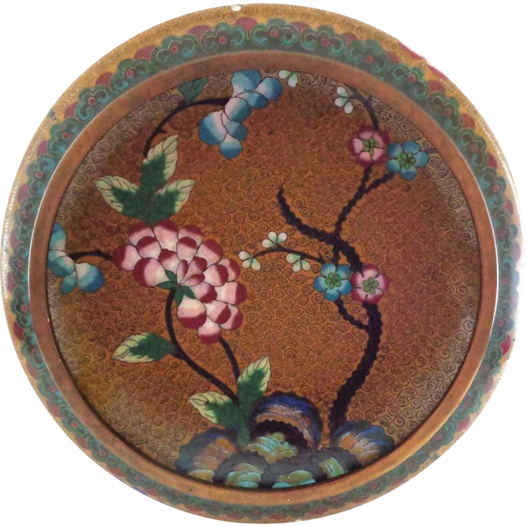 Chinese Cloisonne Bowl with Mums and More