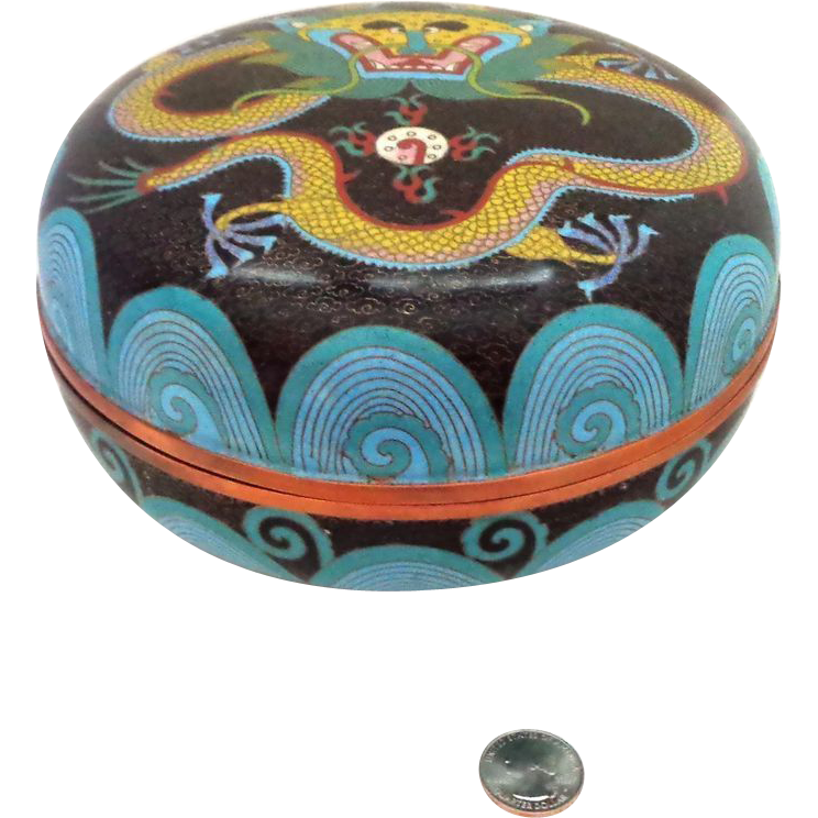 "8"" Chinese Cloisonne Dragon Box Chasing The Pearl of Wisdom - Extremely Large"