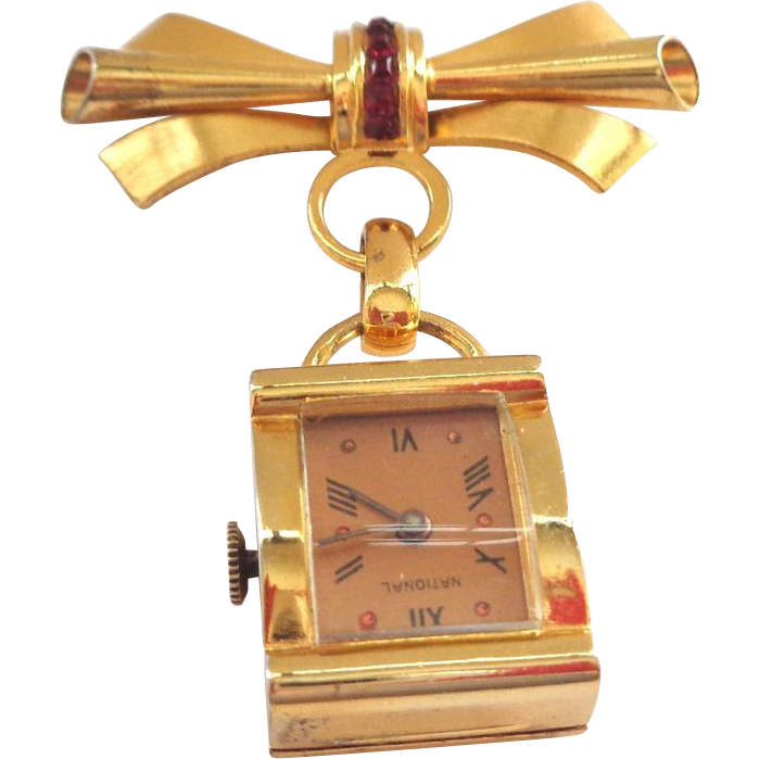 Gold Plated Sterling Silver Retro Watch with Matching Bow Pin