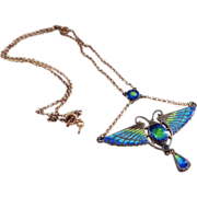 Sterling Enamel Arts and Crafts Scarab Necklace