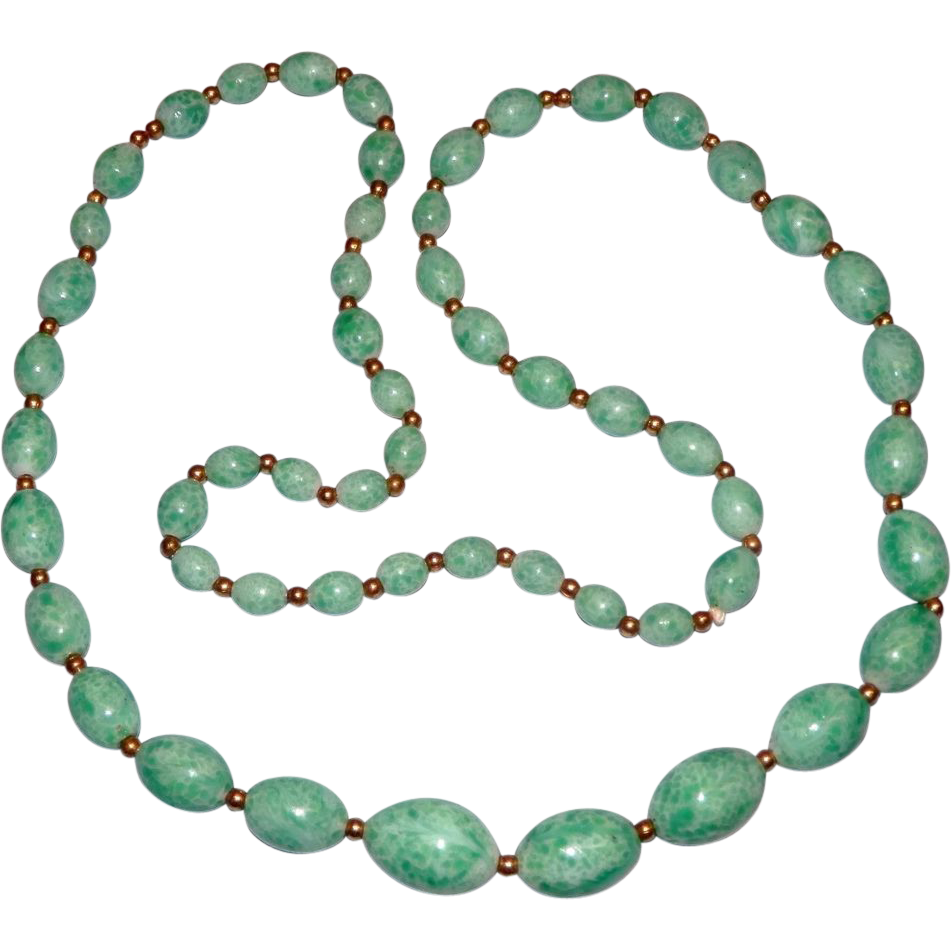 "27"" Pretty Peking Glass Bead Necklace"