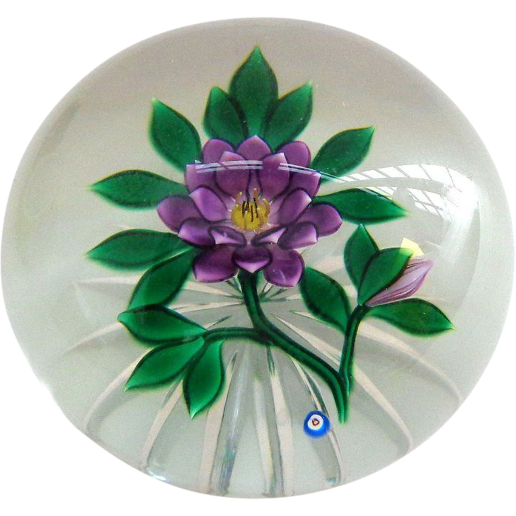 Vintage Stylized Flower Bob Banford Signed Paperweight 1980s