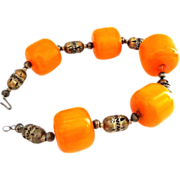 Large Egg Yolk Amber Beads Choker Necklace