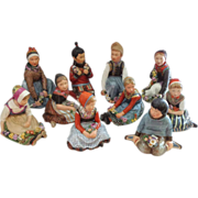 EXTREMELY RARE Full Set of 10 Royal Copenhagen Overglaze Polychrome Children of the Provinces Series