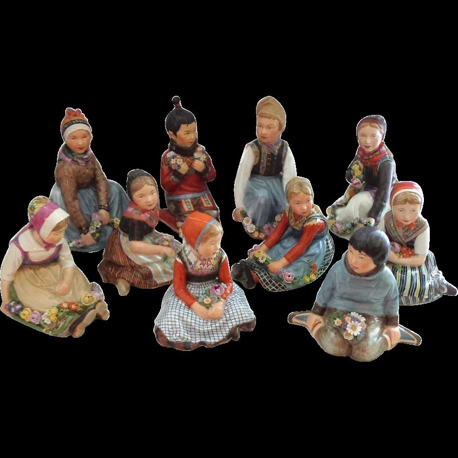 EXTREMELY RARE Full Set of 10 Royal Copenhagen Overglaze Polychrome Children of the Provinces Series