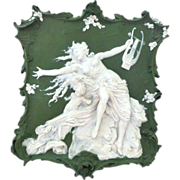 Splendid Large Volkstedt Jasper Ware Jasperware Plaque Beautiful Semi-nude Siren and Angel