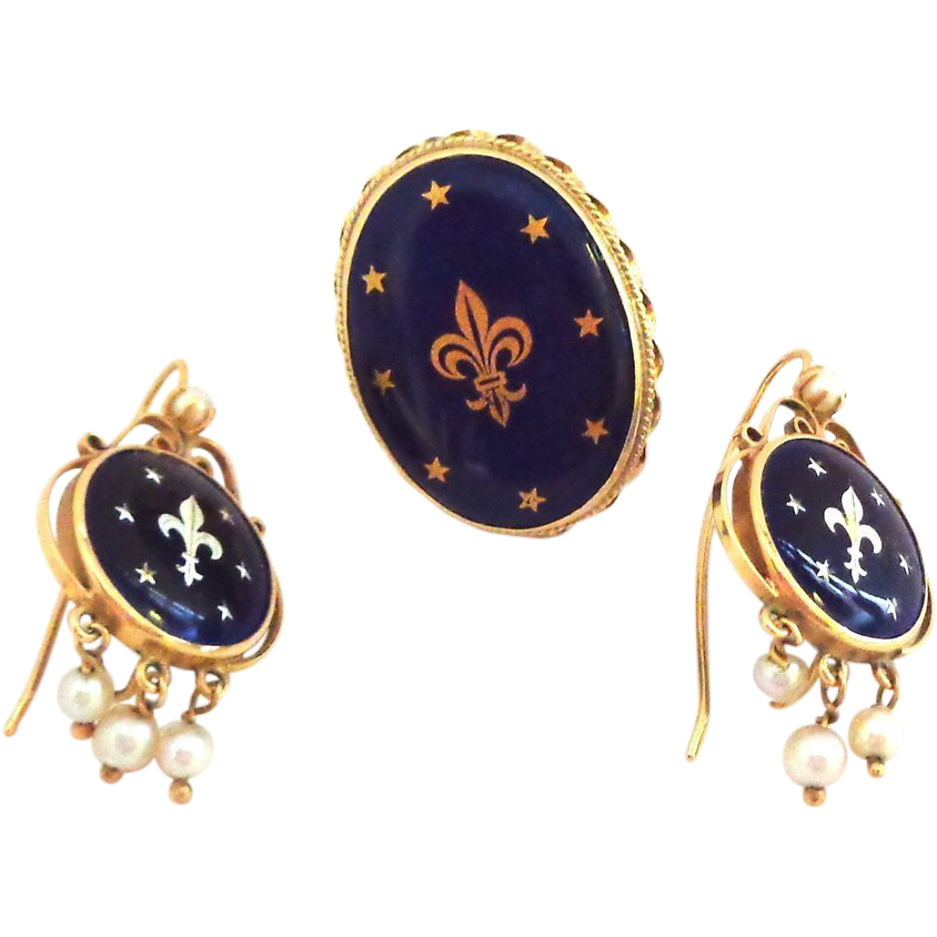 EXCEPTIONAL 14K and Cobalt Blue Enamel with Fleur de Lis and Stars Earrings and Ring
