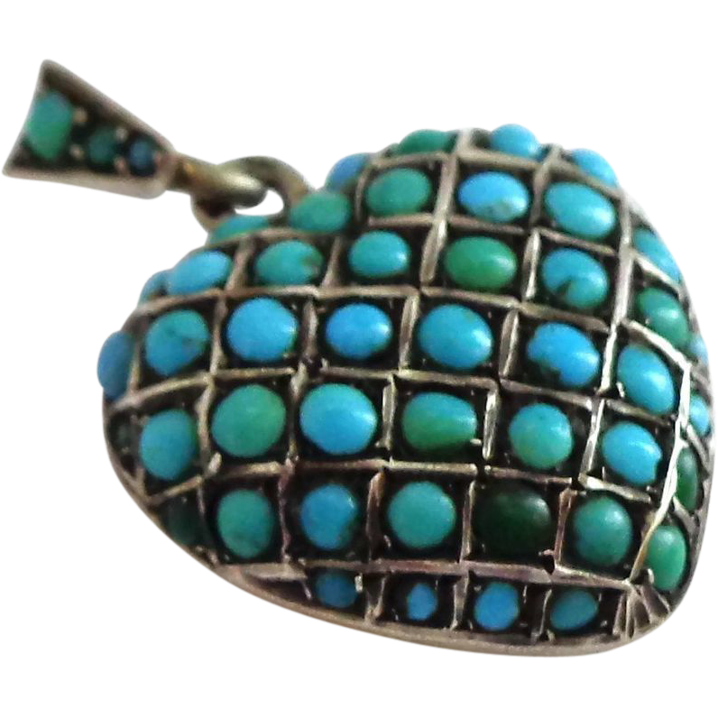 OUTSTANDING Antique Puffy Heart Sterling Silver Pavé Turquoise Locket Pendant or Charm
