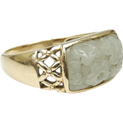 14K Gold Size 10 Carved Jade Ring