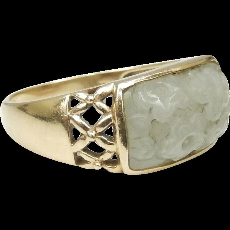 14K Gold Size 10 Carved Jade Ring