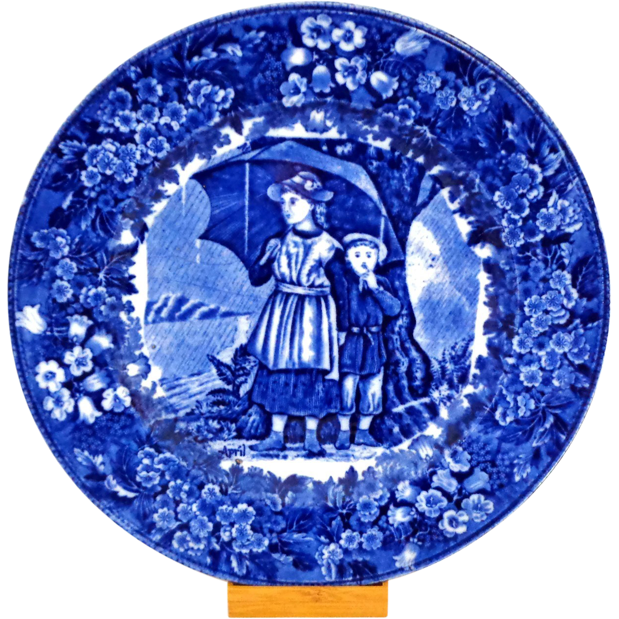 Antique Wedgwood Month Plate for April in Flow Blue