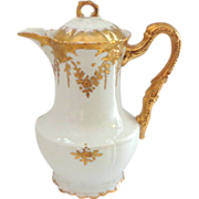 Ageless Antique Limoges Chocolate Pot with Raised Gold Decoration LS&S