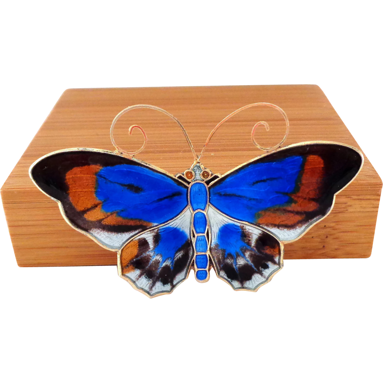 Very Large David Andersen Enamel Sterling Guilloche Butterfly Pin - Bright Blue Splotches