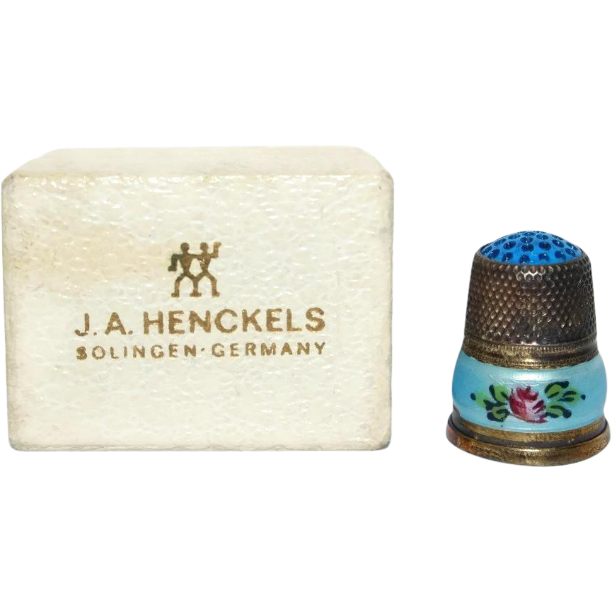 Sterling Silver and Enamel Thimble with Original Box from Germany