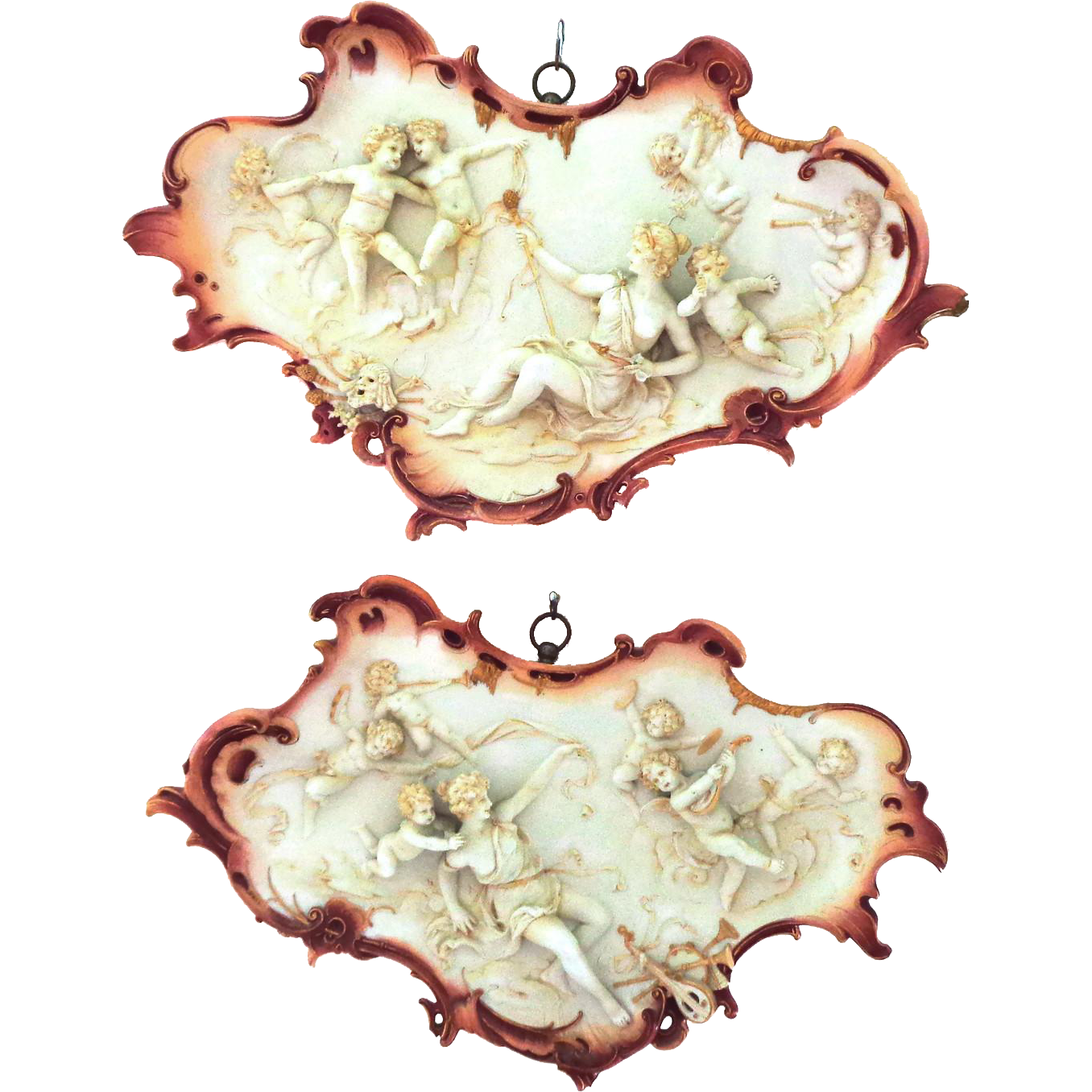 WOW! Amazingly RARE Pair of Antique Volkstedt Plaques with Musical Theme and Many Cherubs Very 3D