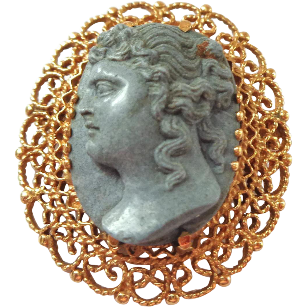 High Relief 14K Gold and Lava Pin or Pendant Cameo