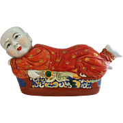 "Large 16"" Porcelain  Chinese Pillow in form of Adorable Boy!"