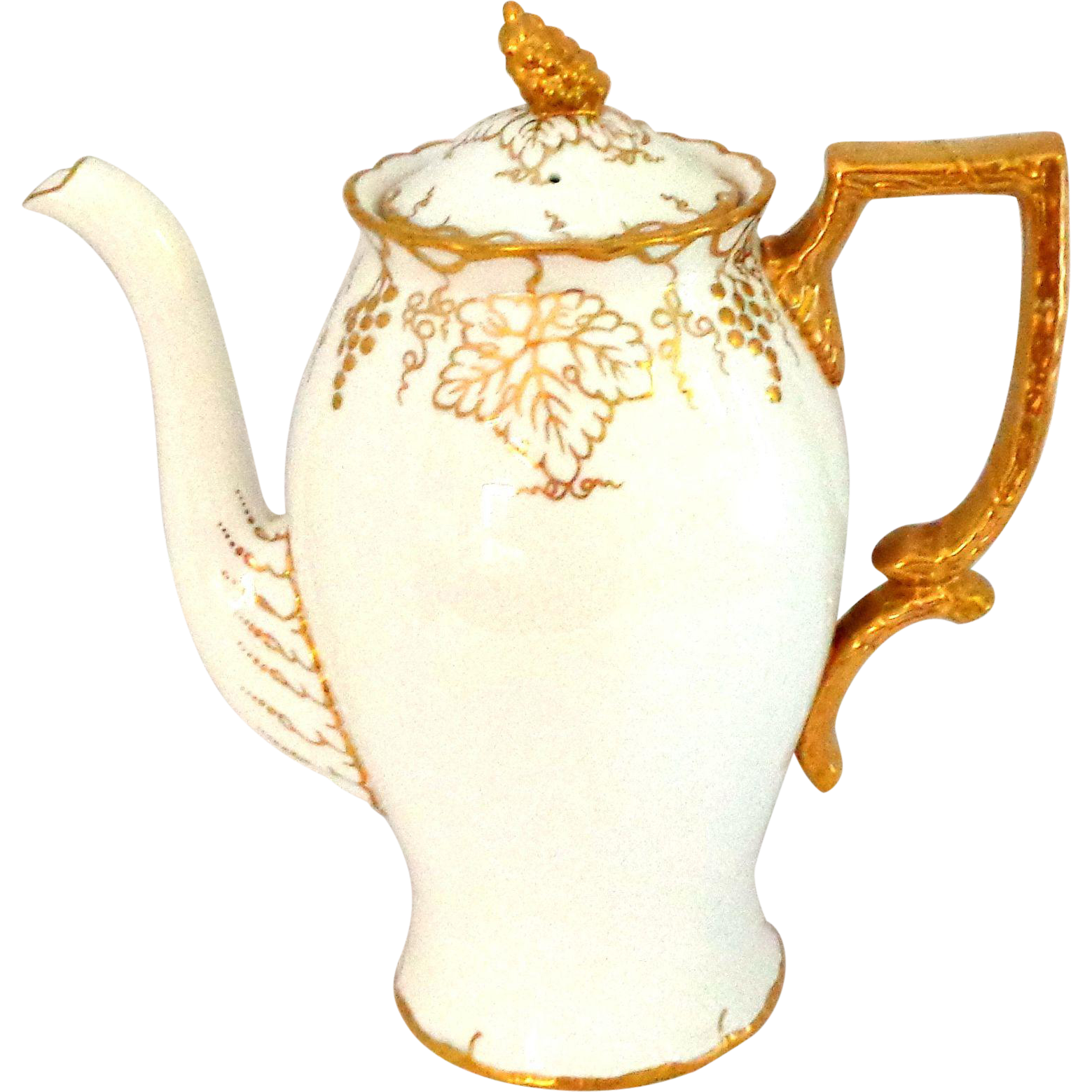 Royal Crown Derby Vine Gold on White Coffee Pot