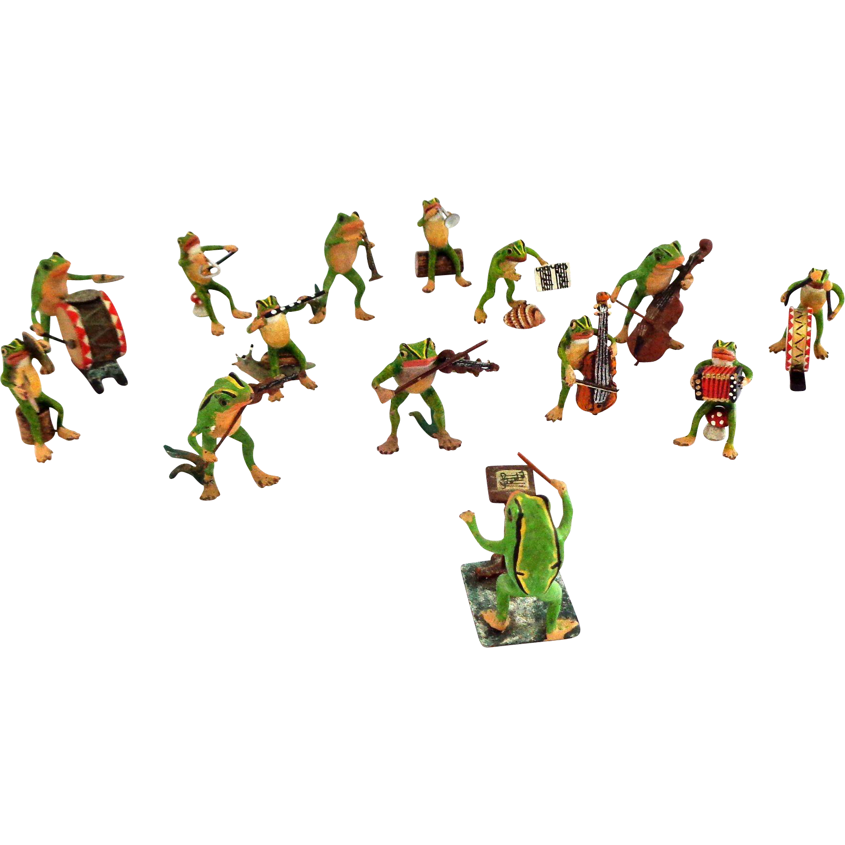 Astounding and VERY Adorable 14 Piece Vienna Austria Frog Band Orchestra Cold Painted Bronze