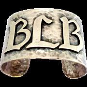 Sterling Silver Arts & Crafts Period Hand Hammered Cuff Bracelet